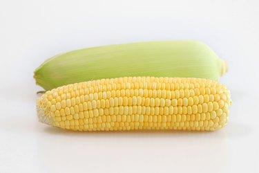 Closeup of corn next to husk