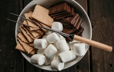 skewer for s'mores, graham crackers, chocolate, marshmallows