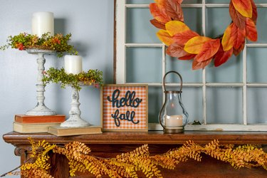 Hello fall sign on the mantel - cozy fall home decor