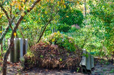 Large compost heap in the garden