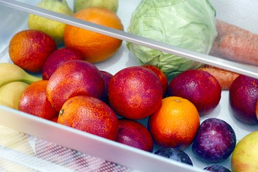 Fruits and vegetables in a clear drawer
