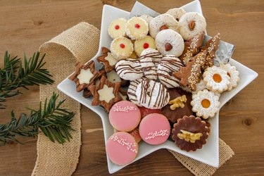 Plate with a big selection of Christmas cookies