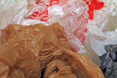Close-up of disposable plastic grocery bags