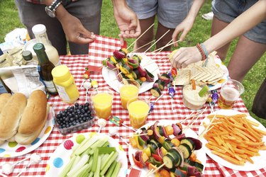 A summer barbecue in the park