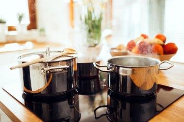 Lunch being made in modern kitchen