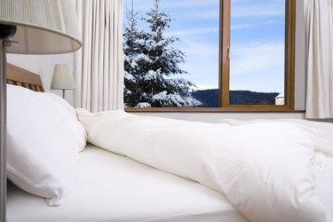 Bedroom with scenery outside window