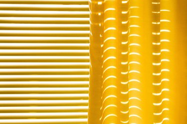 Yellow curtains and yellow blinds