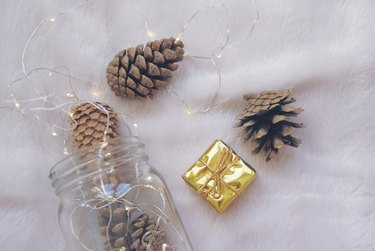 Christmas pine cones with glass jar