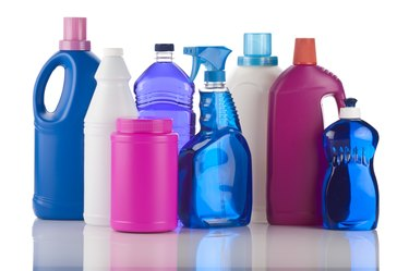 Plastic bottles of chemical cleaning products