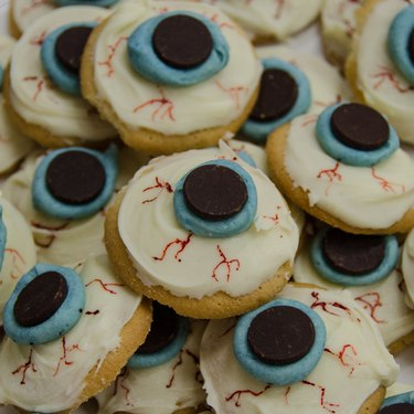 Sugar cookies topped with candy eyeballs