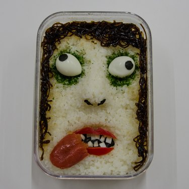 Rice, eggs and seaweed arranged in a Bento box
