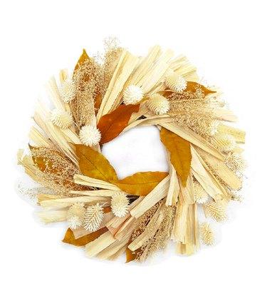 Bloom Room Fall Harvest 10-Inch Corn Husk & Leaf Boxed Wreath