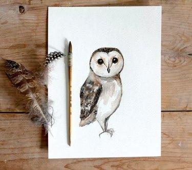 DIY Owl watercolor painting
