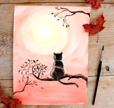 DIY cat painting with watercolors