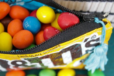candy bag zipper pouch filled with M&M's
