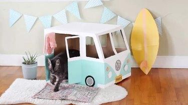 Cardboard Bus Cat House