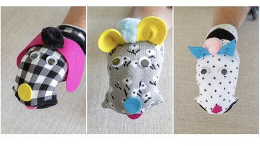dog, mouse and cat sock puppets
