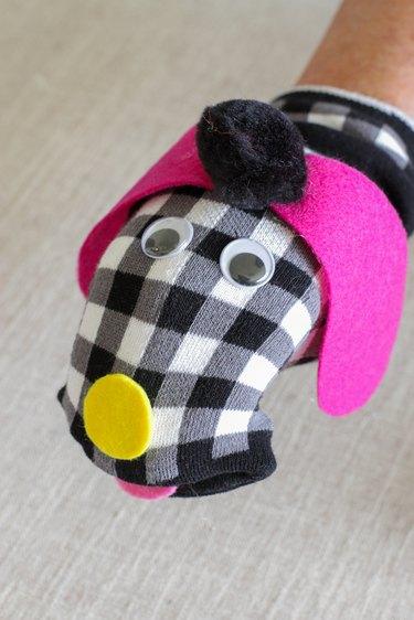 finished dog puppet