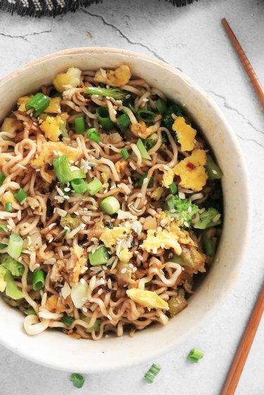 Completed TikTok ramen noodles