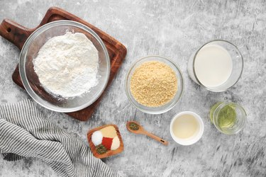 Ingredients for batter and crust mixture