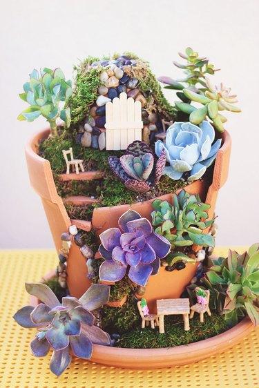 completed broken pot fairy garden