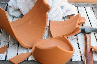 broken pieces of clay pot