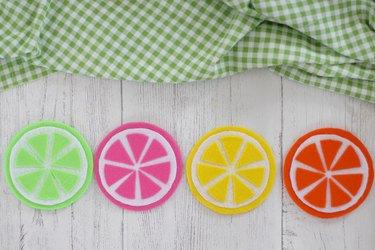 colorful fruit-slice coasters