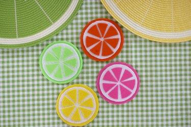 set of fruit-slice coasters