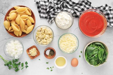 Ingredients for spinach artichoke stuffed shells