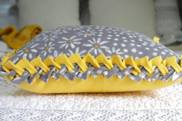 closeup of no-sew braided pillow cover