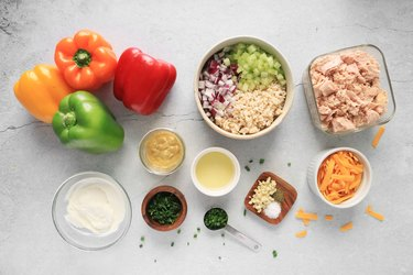 Ingredients for tuna melt stuffed peppers