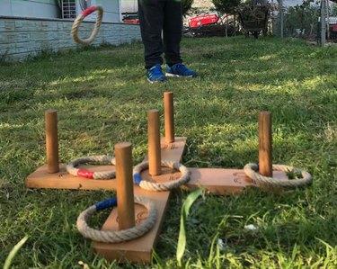 Wooden outdoor ring toss set