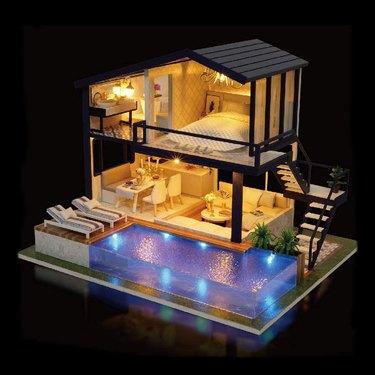 pool house at night