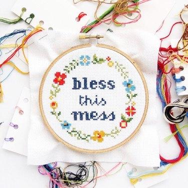 Bless This Mess DIY Cross-Stitch Kit