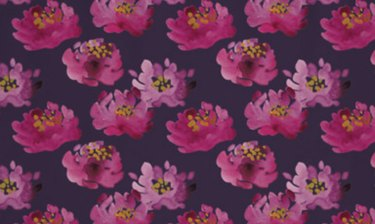 Painted purple flowers on navy background