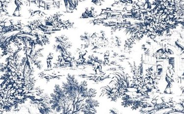 Navy toile pattern on white background