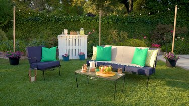 outdoor lawn party setup