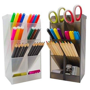 STYLIO Office Desk Organizer - Translucent Black & White Caddy Organizer Racks (Set of 4)