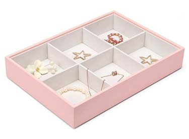 Vlando Jewelry Tray - Faux Leather Desktop Drawer Chest, 6 Grid, Pink