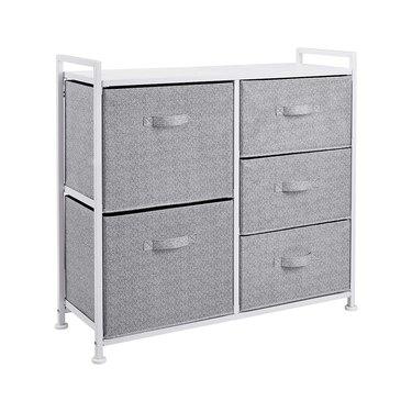Amazon Basics Fabric 5-Drawer Storage Organizer Unit for Closet, White