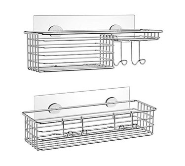 SMARTAKE 2-Pack Shower Caddy, 304 Stainless Steel, Silver