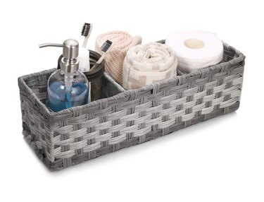 AOZITA Toilet Tank Topper Hand-Woven Basket, Gray