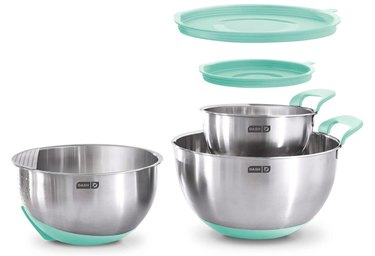 DASH Stainless Steel Mixing Lids, Silicone Non-Slip Base With Measuring Lines and Strainer, 3 Bowl Set