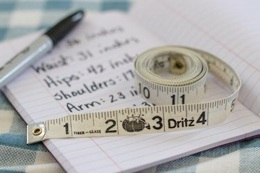 tape measure and recorded measurements