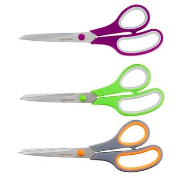 Amazon Basics Multipurpose, Comfort Grip, Titanium Fused, Stainless Steel Office Scissors - Pack of 3