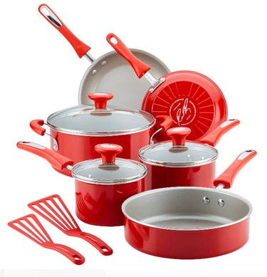 Rachael Ray 11-Piece Get Cooking! Pots and Pans Set/Cookware Set, Red