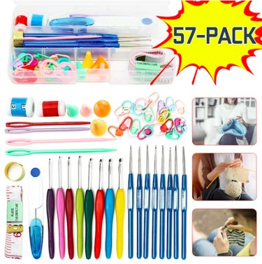 57-Piece Crochet Hooks Tools Knitting Kit & Sewing Accessories, Portable, 16 Sizes