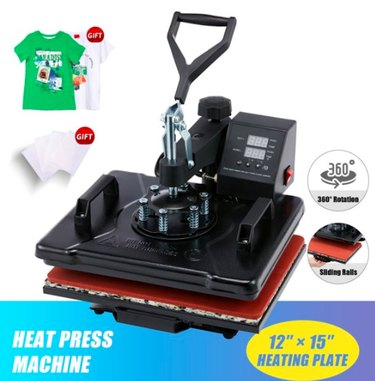 12x15-in Heat Press Machine With Transfer Sheets 360 Swivel for T-Shirts,1250W