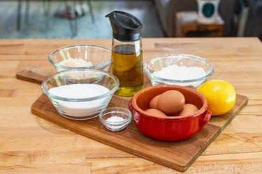 Ingredients for lemon olive oil cake