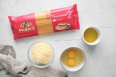 Ingredients for pastitsio pasta layer